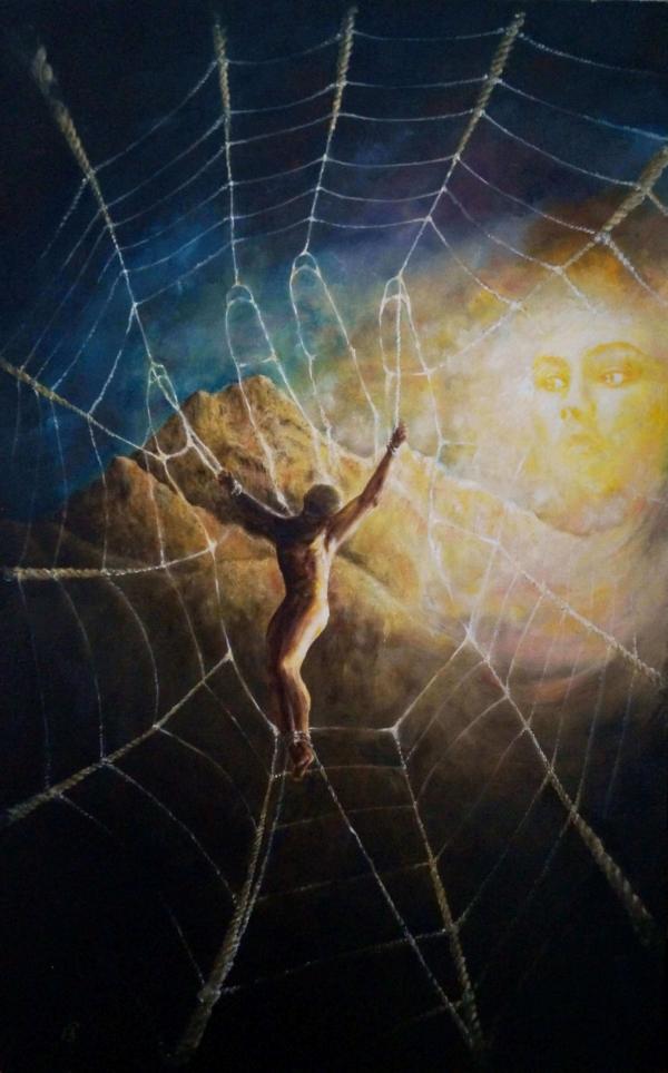 Сети - картина, автор Сергей Колесников (KS), холст (лён, мелкое зерно), масло, 80x60 см, 2013 год. Живопись, авторский стиль - интегральный реализм.