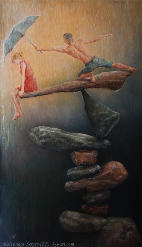 Баланс - картина, автор Сергей Колесников (KS), холст (лён, мелкое зерно), масло, 95x55 см, 2018 год. Живопись, авторский стиль - интегральный реализм.