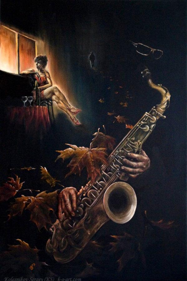 БЛЮЗ - картина, художник Сергей Колесников (KS), холст, масло, 2016 год. Живопись в стиле - интегральный реализм.