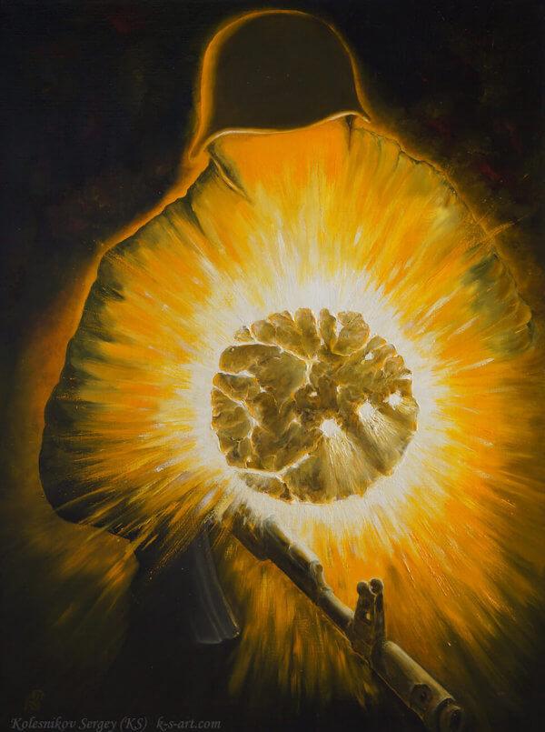 Душа солдата - картина, автор Сергей Колесников (KS), холст, масло, 2016 год. Живопись, авторский стиль - интегральный реализм.