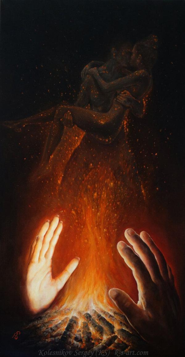 ИСКРЫ - картина, художник Сергей Колесников (KS), холст, масло, 2017 год. Живопись в стиле - интегральный реализм.