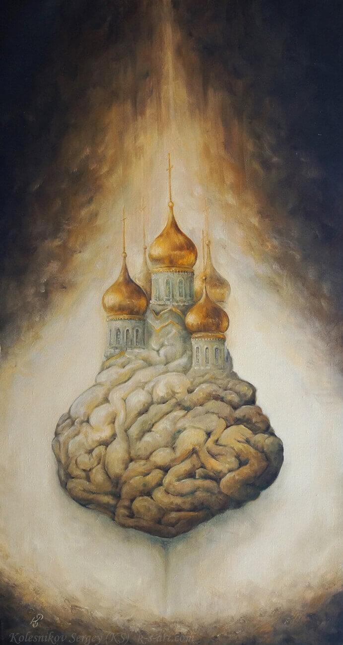 Канал - картина, автор Сергей Колесников (KS), холст (лён, мелкое зерно), масло, 100x55 см, 2017 год. Живопись, авторский стиль - интегральный реализм.