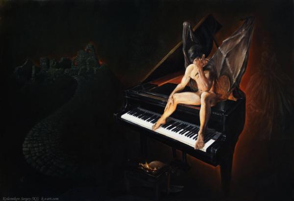 Демон - картина, автор Сергей Колесников (KS), холст (лён, мелкое зерно), масло, 70x105 см, 2017 год. Живопись, авторский стиль - интегральный реализм.
