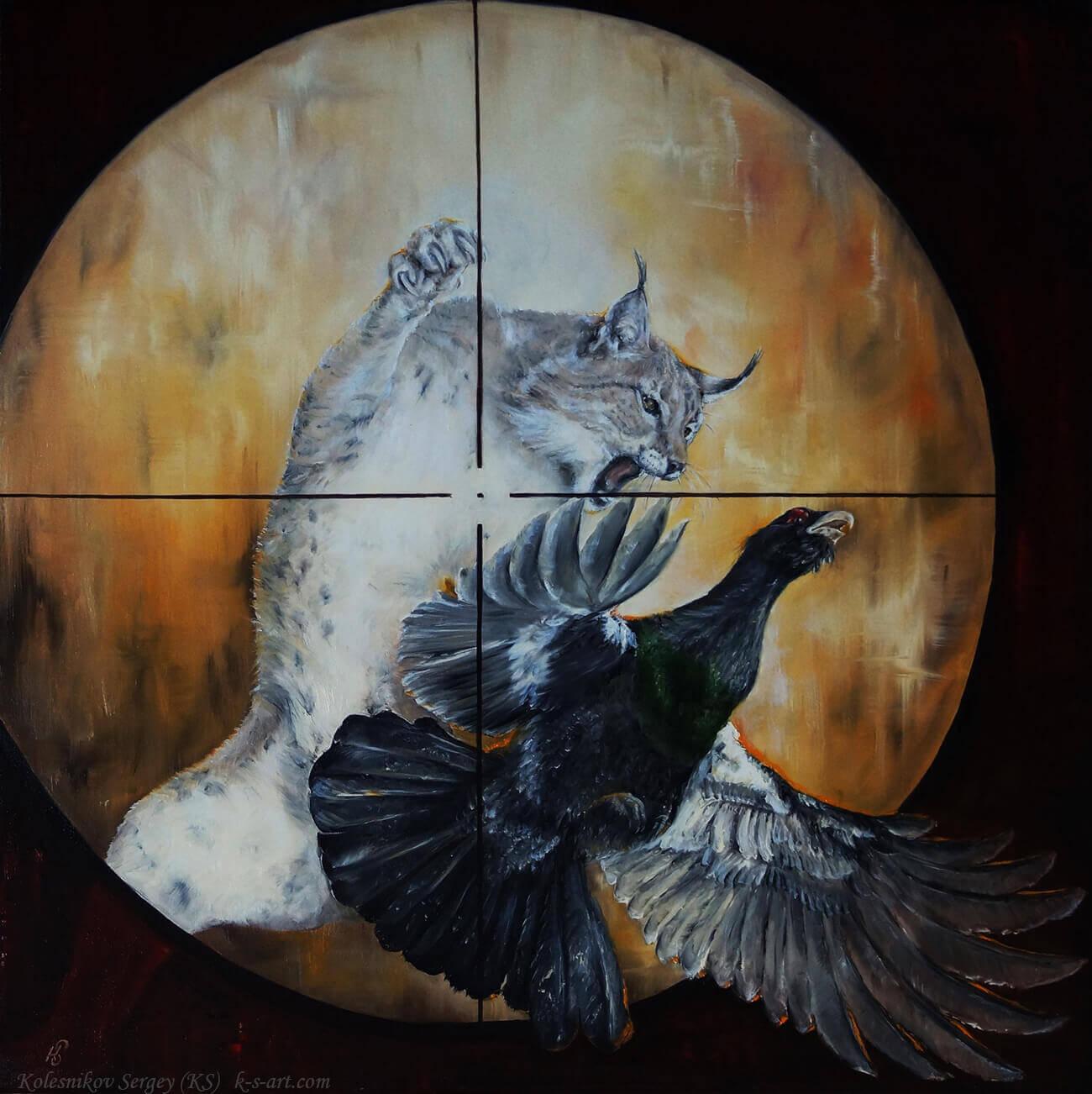 Из серии - Охота (рысь) - картина, автор Сергей Колесников (KS), холст (лён, мелкое зерно), масло, 75x75 см, 2016 год. Живопись, авторский стиль - интегральный реализм.