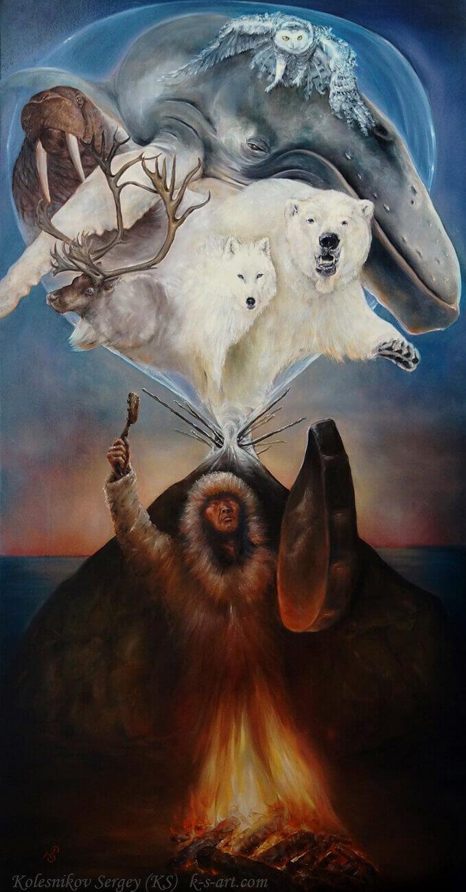 Шаман - картина, автор Сергей Колесников (KS), холст (лён, мелкое зерно), масло, 105x55 см, 2017 год. Живопись, авторский стиль - интегральный реализм.