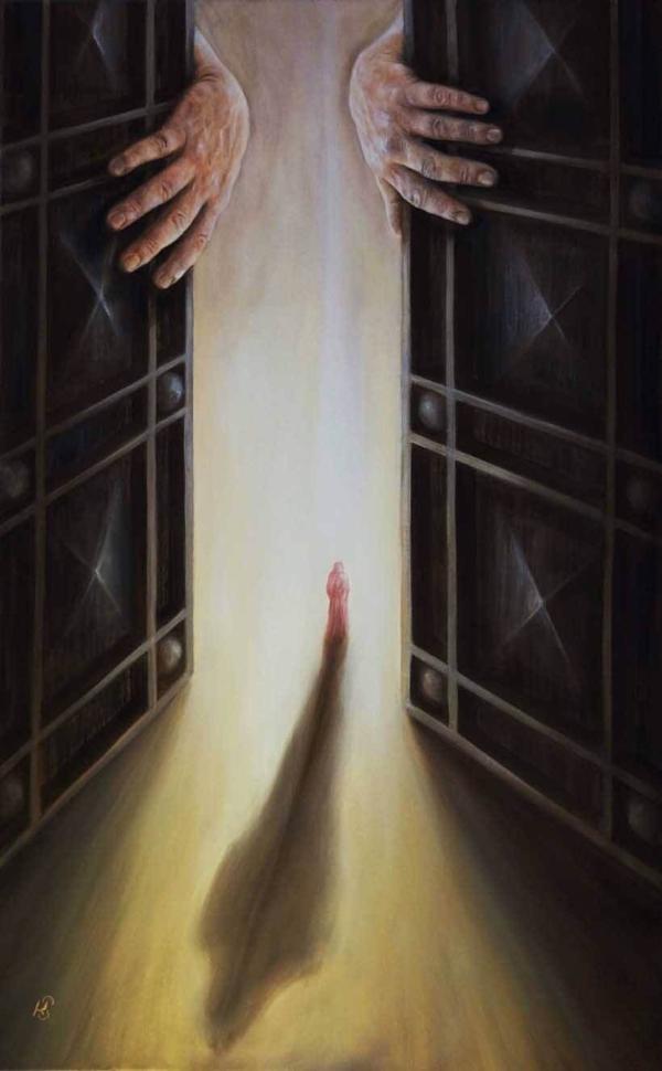 Из серии - На пороге (Ахират) - картина, художник Сергей Колесников (KS), холст, масло, 2017 год. Живопись в стиле - интегральный реализм.