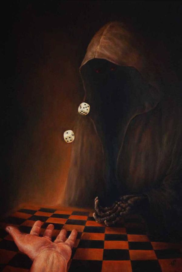 Кости - картина, автор Сергей Колесников (KS), холст (лён, мелкое зерно), масло, 80x55 см, 2018 год. Живопись, авторский стиль - интегральный реализм.