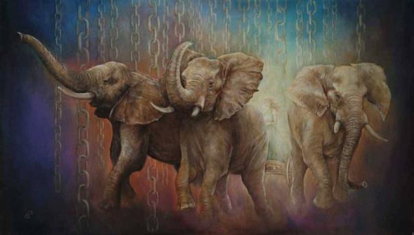 Тройка - картина, автор Сергей Колесников (KS), холст (лён, мелкое зерно), масло, 55x95 см, 2017 год. Живопись, авторский стиль - интегральный реализм.