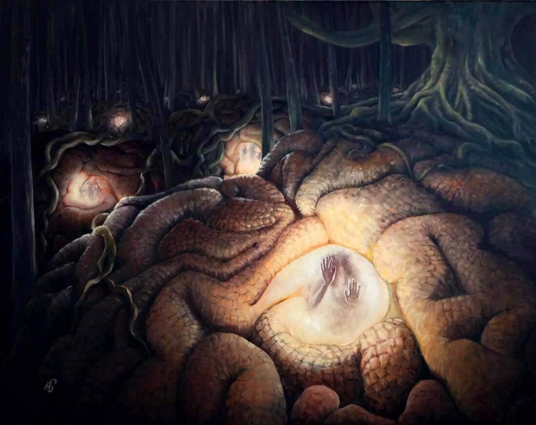 Чертоги разума - картина, автор Сергей Колесников (KS), холст (лён, мелкое зерно), масло, 75x95 см, 2016 год. Живопись, авторский стиль - интегральный реализм.