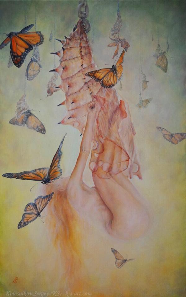 Квазар (диптих) - картина, автор Сергей Колесников (KS), холст (лён, мелкое зерно), масло, 95x60 см, 2018 год. Живопись, авторский стиль - интегральный реализм.