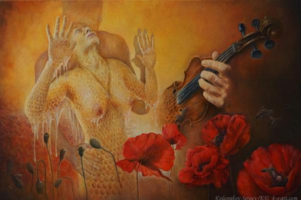 Мёд - картина, автор Сергей Колесников (KS), холст (лён, мелкое зерно), масло, 60x90 см, 2018 год. Живопись, авторский стиль - интегральный реализм.
