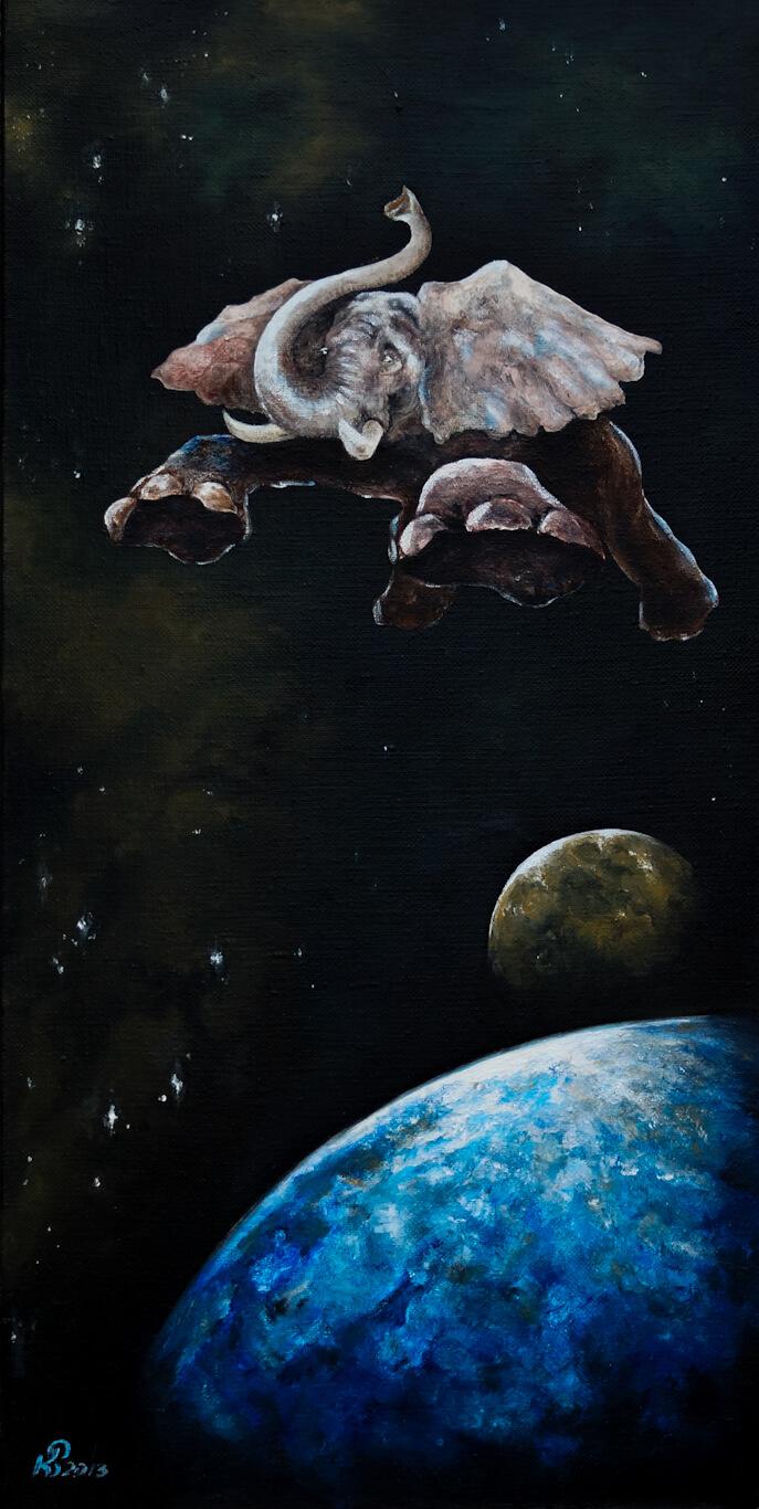 Невесомость - картина, автор Сергей Колесников (KS), холст (лён, мелкое зерно), масло, 80x40 см, 2013 год. Живопись, авторский стиль - интегральный реализм.