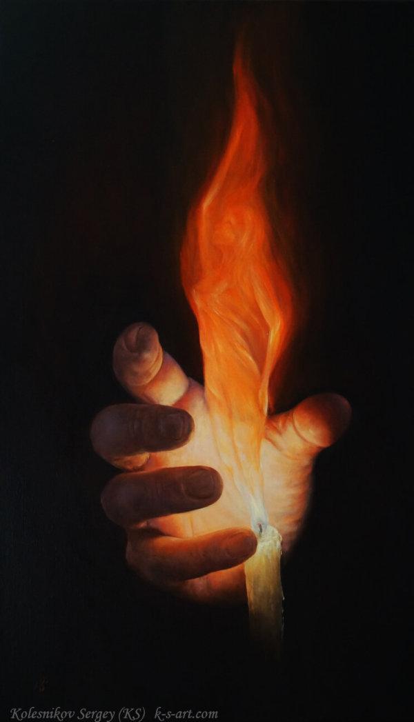 Огонь - картина, художник Сергей Колесников (KS), холст, масло, 2015 год. Живопись в стиле - интегральный реализм.