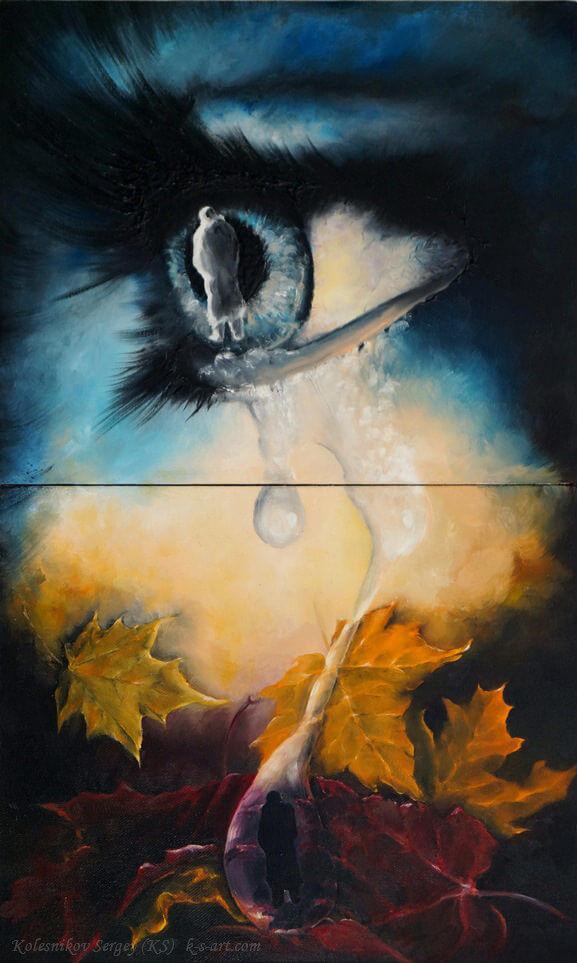 Осень (диптих) - картина, художник Сергей Колесников (KS), холст, масло, 2015 год. Живопись в стиле - интегральный реализм.