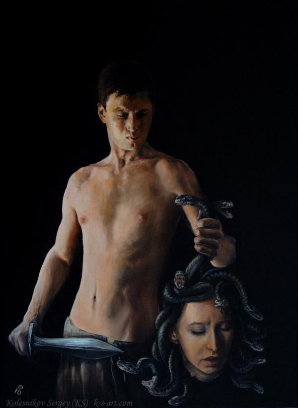 Персей- картина, автор Сергей Колесников (KS), холст (лён, мелкое зерно), масло, 75x55 см, 2016 год. Живопись, авторский стиль - интегральный реализм.