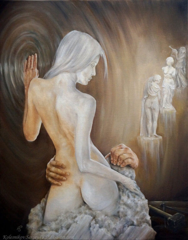 Пигмалион - картина, автор Сергей Колесников (KS), холст, масло, 2016 год. Живопись, авторский стиль - интегральный реализм.