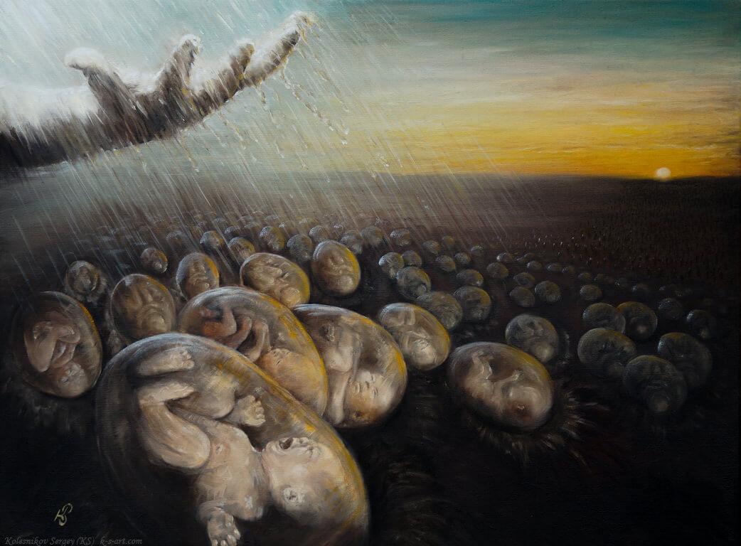 Посев - картина, автор Сергей Колесников (KS), холст (лён, мелкое зерно), масло, 60x80 см, 2016 год. Живопись, авторский стиль - интегральный реализм.