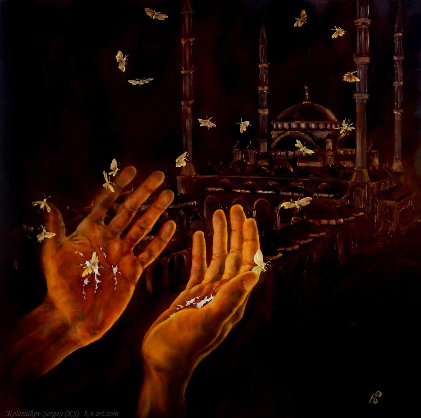 Из серии – ОЧИЩЕНИЕ (Ислам) - картина, автор Сергей Колесников (KS), холст (лён, мелкое зерно), масло, 2015 год. Живопись, авторский стиль - интегральный реализм.