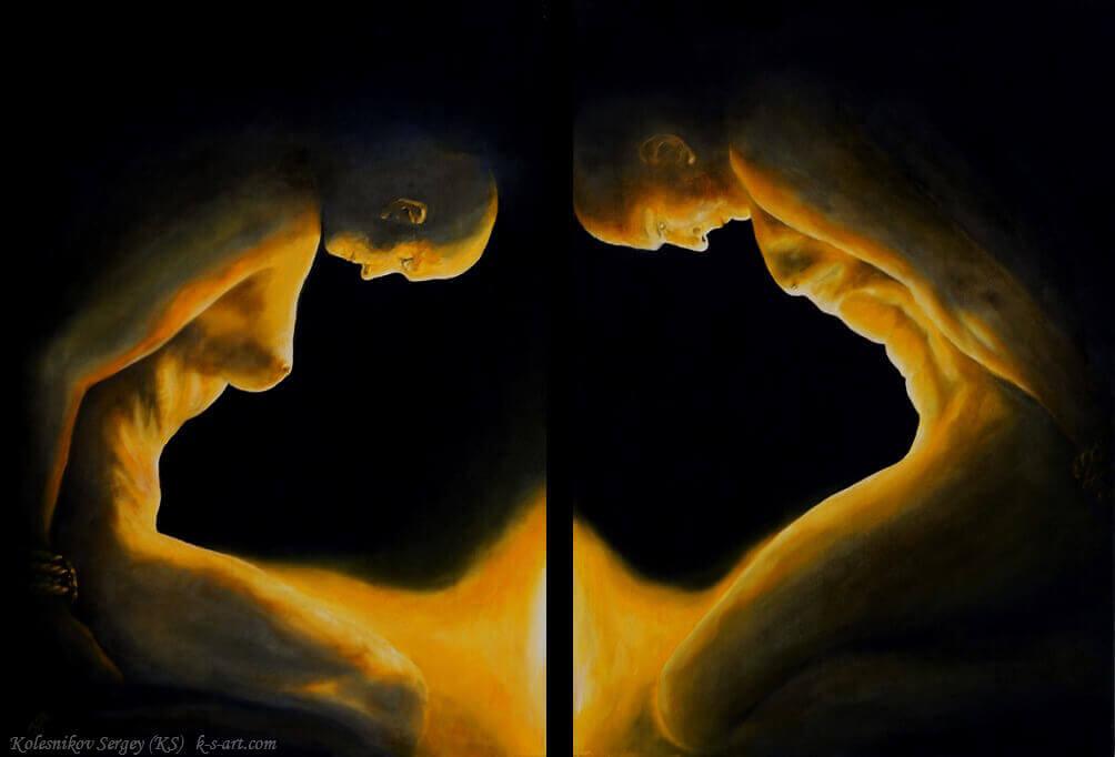 Угасание (диптих) - картина, автор Сергей Колесников (KS), холст (лён, мелкое зерно), масло, 70x100 см, 2013 год. Живопись, авторский стиль - интегральный реализм.