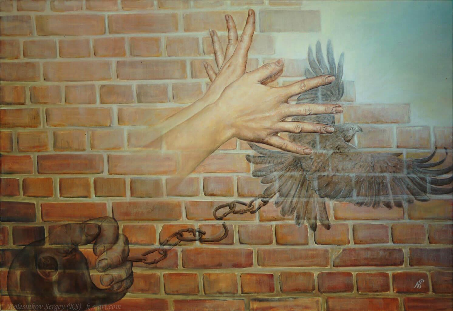 Картина «Ваянг» - художник Сергей Колесников (KS), холст, масло, 80x60 см, 2017 год. Живопись в стиле - интегральный реализм.
