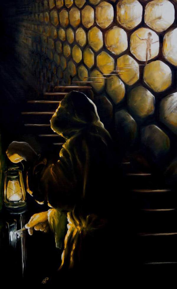 Вниз по лестнице ведущей в верх - картина, автор Сергей Колесников (KS), холст (лён, мелкое зерно), масло, 105x65 см, 2015 год. Живопись, авторский стиль - интегральный реализм.