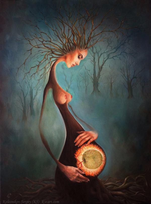 Зарождение - картина, художник Сергей Колесников (KS), масло, холст, 2017 год. Живопись в стиле - интегральный реализм.
