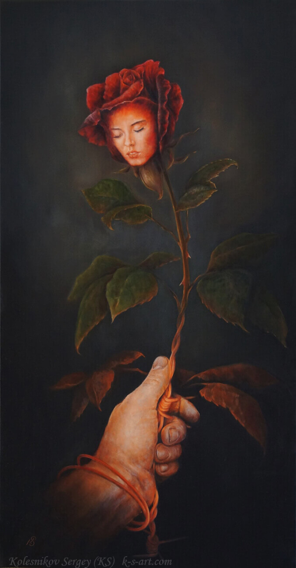 Зависимость - картина, автор Сергей Колесников (KS), холст (лён, мелкое зерно), масло, 105x55 см, 2018 год. Живопись, авторский стиль - интегральный реализм.