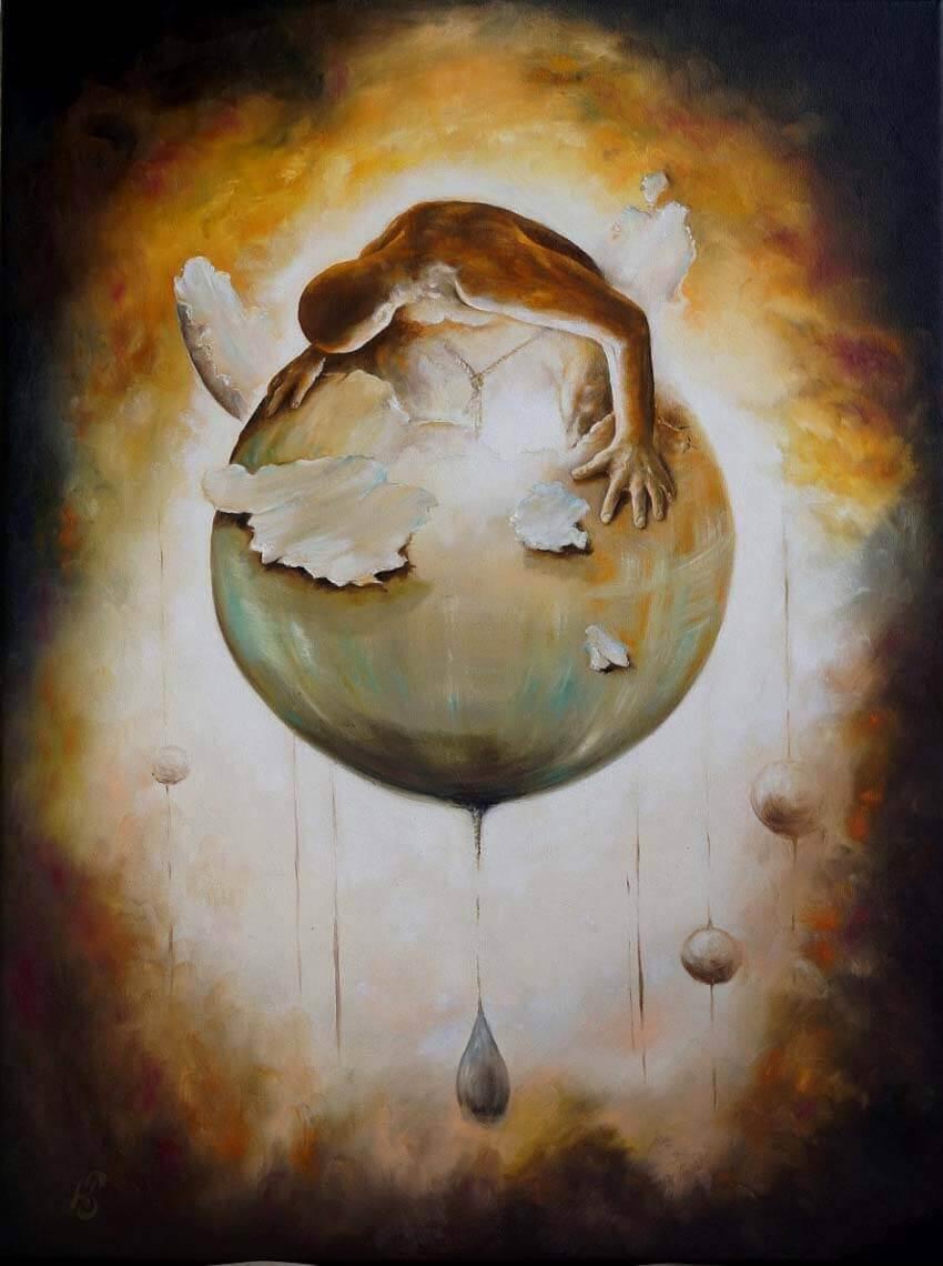 Сосуд кармы - картина, автор Сергей Колесников (KS), холст (лён, мелкое зерно), масло, 80x60 см, 2014 год. Живопись, авторский стиль - интегральный реализм.