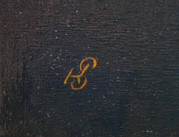 """Картина """"Алгоритм"""", автор Сергей Колесников (KS), холст (лён, мелкое зерно), масло, 55x95 см, 2019 год. Живопись, фрагмент 2"""
