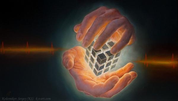 Картина - Алгоритм интегральный реализм, холст (лен мелкое зерно), масло, художник Сергей Колесников (KS)