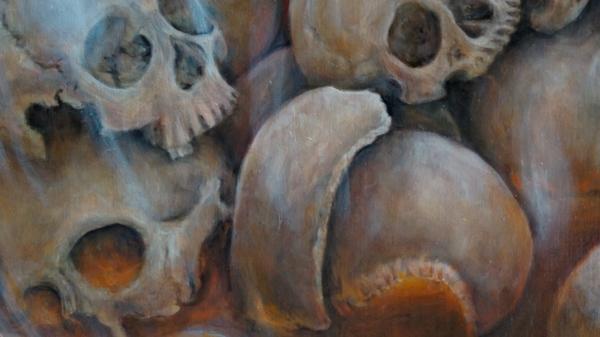 Фрагмент 5 картины Звездная пыль (бренность бытия, череп) - холст, масло, художник Сергей Колесников (KS)