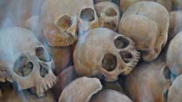 Фрагмент 3 картины Звездная пыль (бренность бытия, черепа) - холст, масло, художник Сергей Колесников (KS)