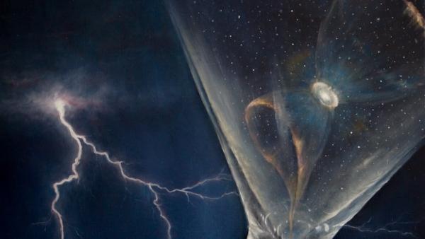 Фрагмент 3 картины Звездная пыль (молния, взрыв сверхновой) - холст, масло,художник Сергей Колесников (KS)