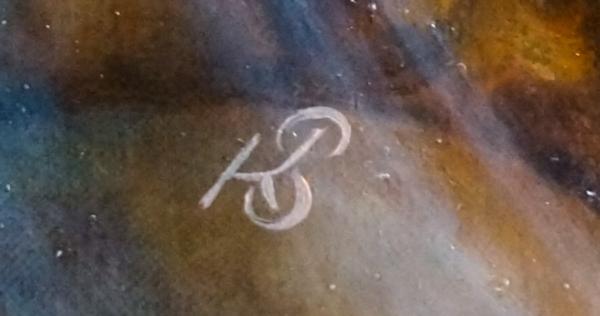 Фрагмент картины Звездная пыль (подпись-логотип художника) - холст, масло, художник Сергей Колесников (KS)