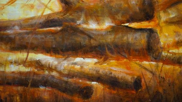Фрагмент к картине Lost (дрова горят) 65х95. холст, масло. Художник Сергей Колесников (KS)