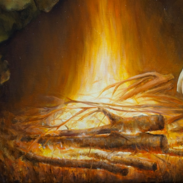 Фрагмент к картине 3 Lost (дрова горят) 65х95. холст, масло. Художник Сергей Колесников (KS)