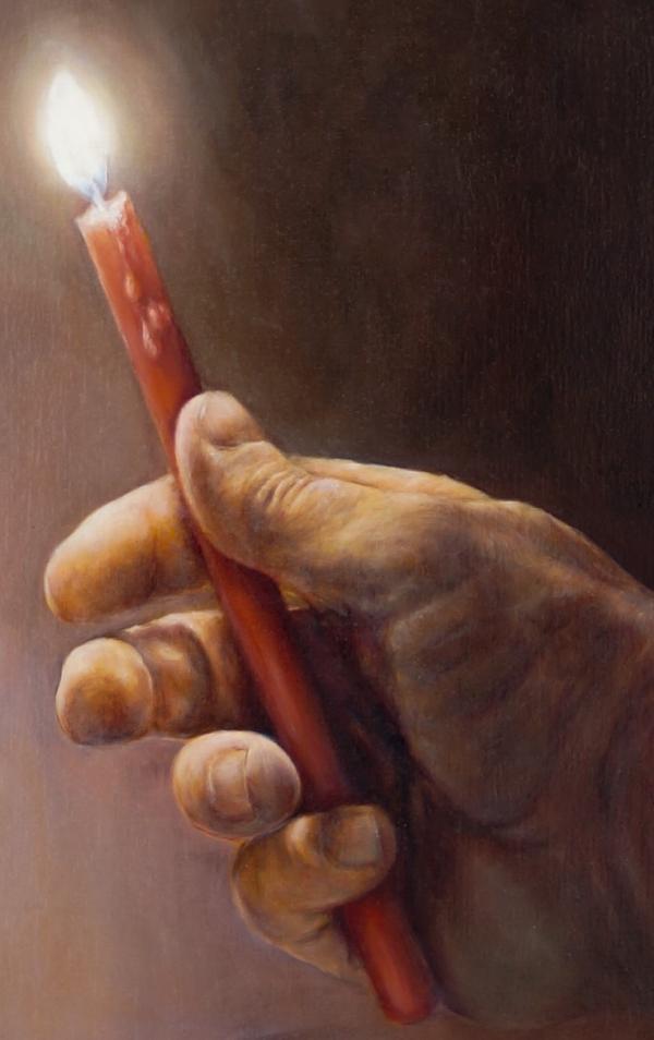 Фрагмент к картине 2- Присутствие (масло, холст) горящая свеча в руке, художник Сергей Колесников (KS) 2019
