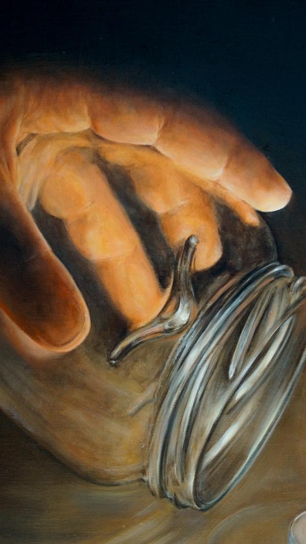 Картина - Коллекционер интегральный реализм, холст (лен мелкое зерно), масло, художник Сергей Колесников (KS) фрагмент 2