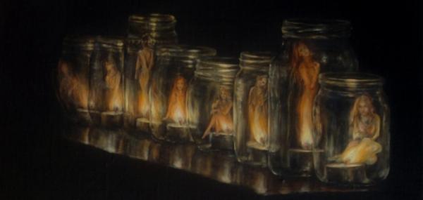 Картина - Коллекционер интегральный реализм, холст (лен мелкое зерно), масло, художник Сергей Колесников (KS) фрагмент 3