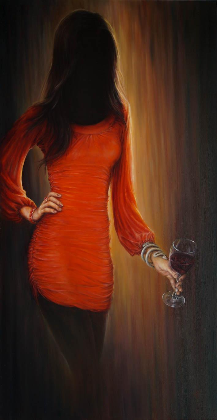 Картина «Красное» художник Сергей Колесников (KS), холст, масло, 105х55 см, 2019 год. Живопись в стиле - интегральный реализм.