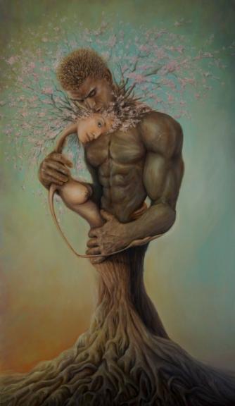 Картина «Счастье любит тишину» - художник Сергей Колесников (KS), холст, масло, 60х95 см, 2019 год. Живопись в стиле - интегральный реализм.