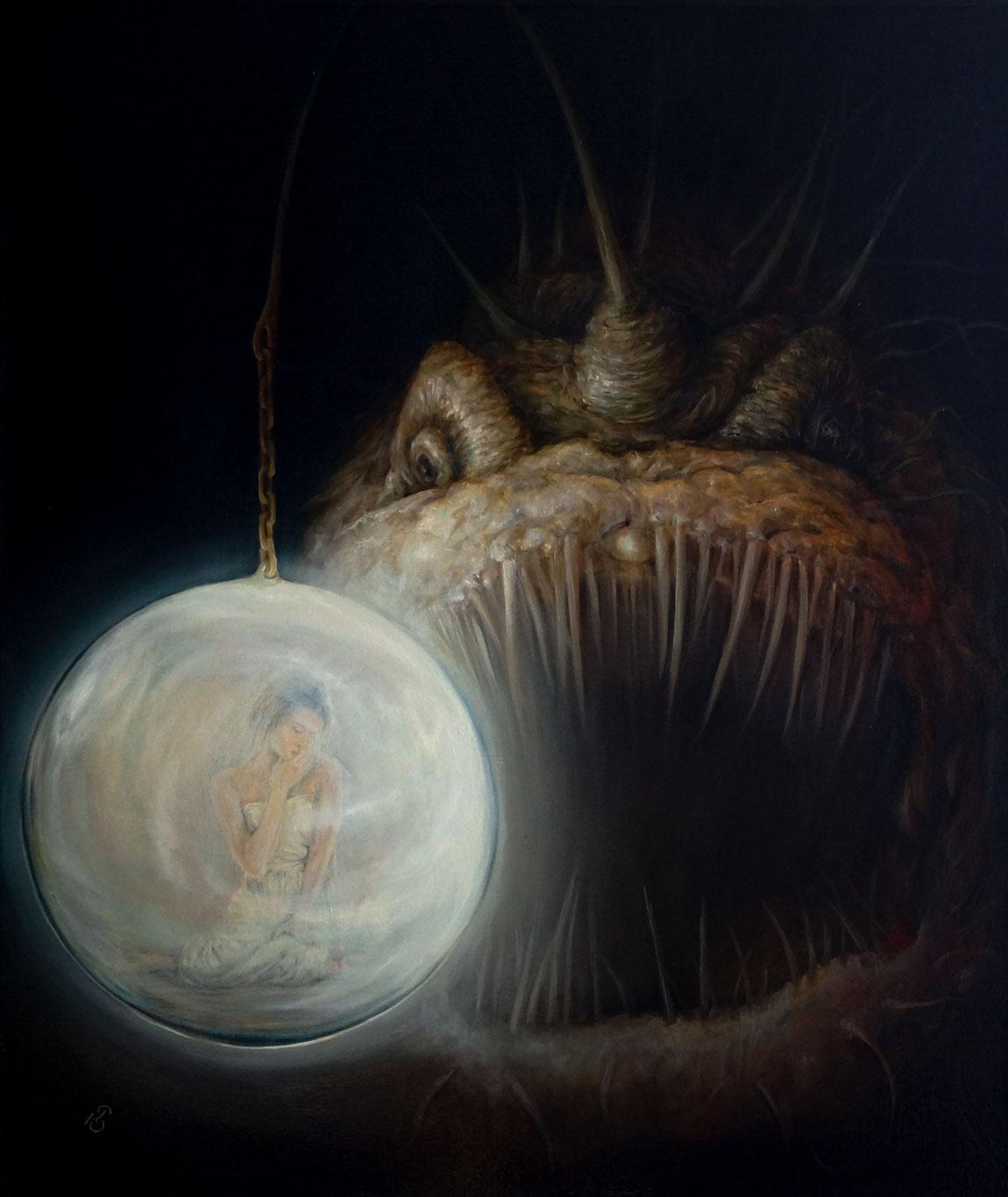Картина «Приманка» - художник Сергей Колесников (KS), холст, масло, 60х55 см, 2019 год. Живопись в стиле - интегральный реализм.