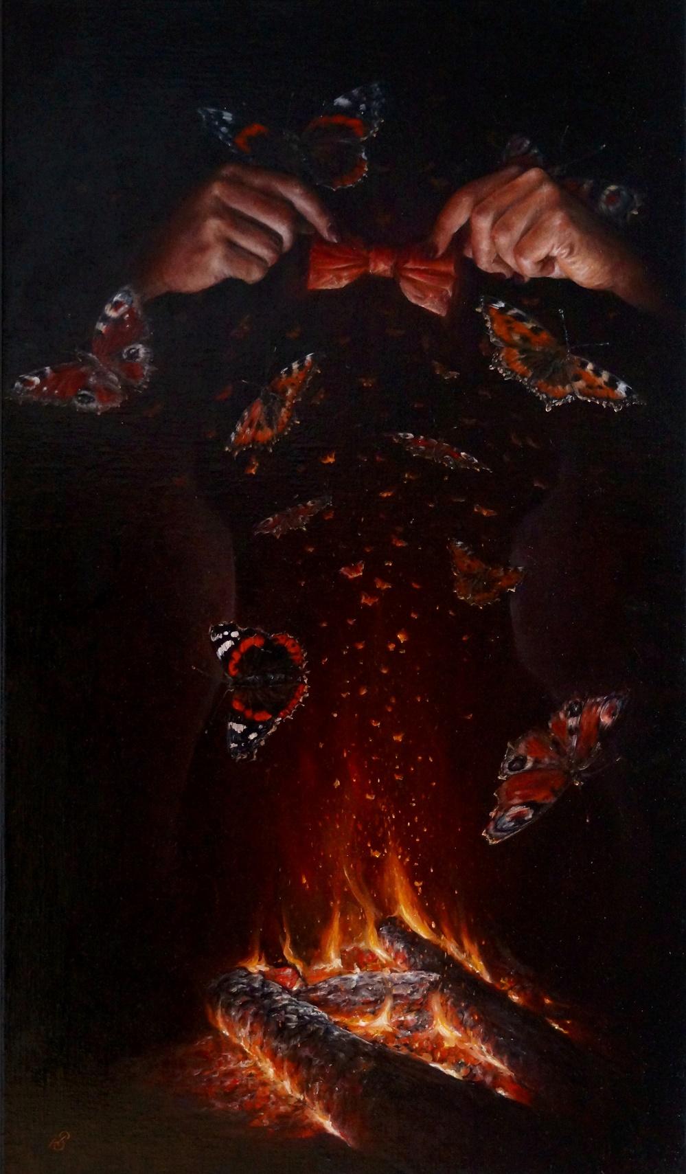 """Картина """"Бабочки"""", художник Сергей Колесников (KS), холст (лён, мелкое зерно), масло, 95x55 см, 2021 год. Живопись, авторский стиль - интегральный реализм."""
