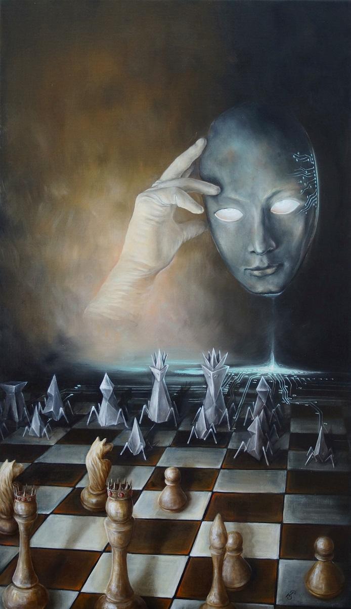 Картина «Сингулярность», художник Сергей Колесников (KS), холст (лён, мелкое зерно), масло, 95x55 см, 2021 год. Живопись, авторский стиль - интегральный реализм.