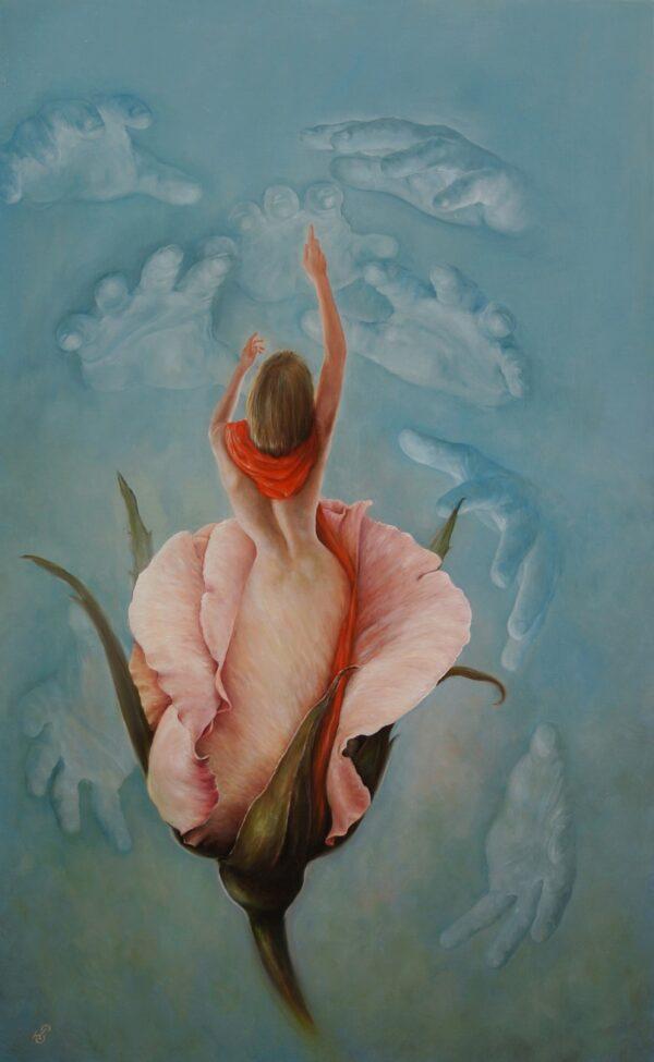 Картина «Бутон», художник Сергей Колесников (KS), холст (лён, мелкое зерно), масло, 105x65 см, 2021 год. Живопись, авторский стиль - интегральный реализм.